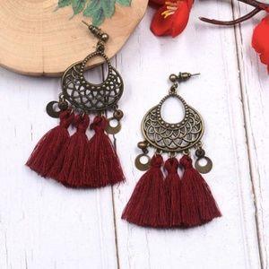 Jewelry - Boho pierced burgundy red tassel earrings